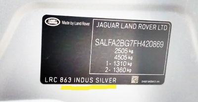 código de pintura para land rover