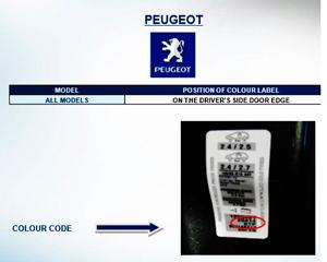 ubicación del código de pintura peugeot