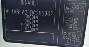 código de pintura megane renault